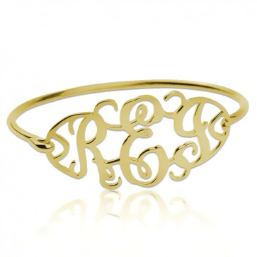 Cut Out Bangle with Monogram in Gold Plated