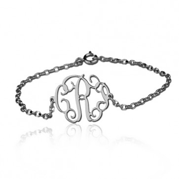 Cut Out Bracelet with Monogram in Sterling Silver