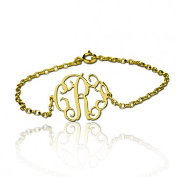 Cut Out Bracelet with Monogram in Gold Plated
