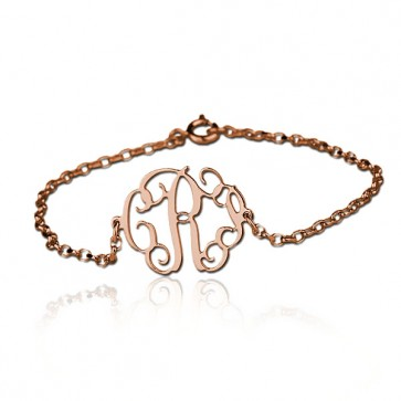 Cut Out Bracelet with Monogram in Rose Gold Plated