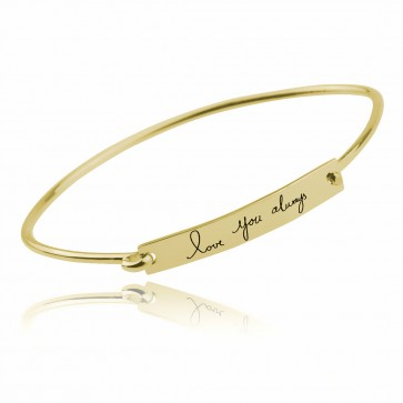 Gold Plated Personalized Handwriting Bar Bangle