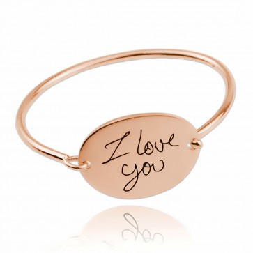 Rose Gold Plated Personalized Oval Signature Bangle