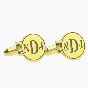 Personalized Gold Plated Initial Monogram Wedding Cufflinks