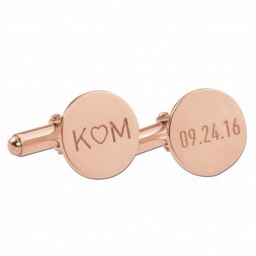 Rose  Gold Plated Personalized  Date and Initials Cufflinks