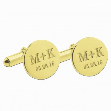 Personalized  Date and Initials Cufflinks in Gold