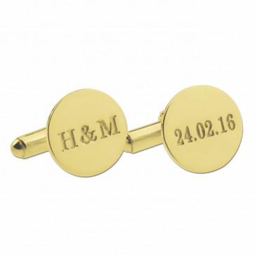 Gold Plated Custom  Date and Initials Cufflinks