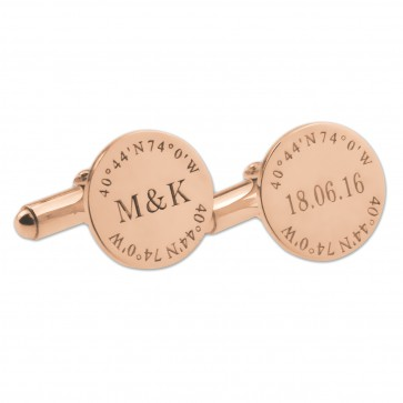 Rose Gold Plated Personalized Coordinate Wedding Cufflinks