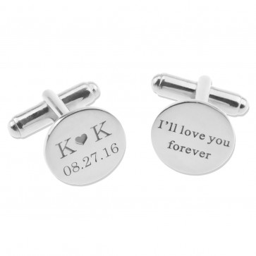 Personalized  Date and Initials Wedding Cufflinks in Silver