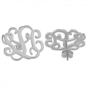 Sterling Silver Initial Monogram Stud Earrings