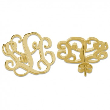 Personalized Gold Plated Initial Monogram Stud Earrings