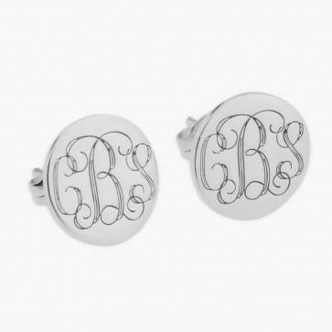 Sterling Silver 3 Initials Monogram Stus Earrings