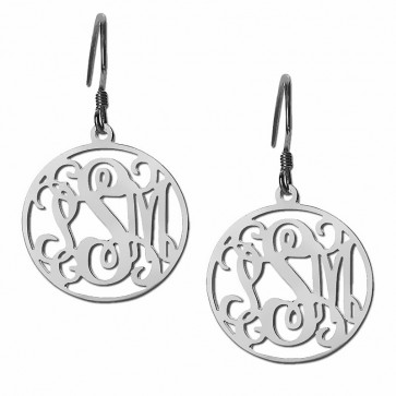 Sterling Silver Customized Initials Monogram Earrings