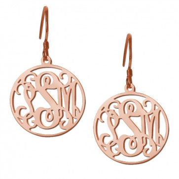 Rose Gold Plated Customized Initials Monogram Earrings