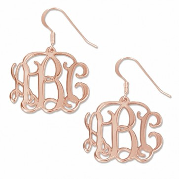 Rose Gold Plated Personalized Initials Monogram Earrings