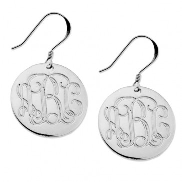 Sterling Silver Earrings Engraved Monogram