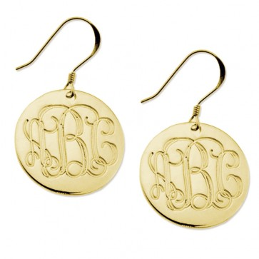 Gold Plated Earrings Engraved Monogram