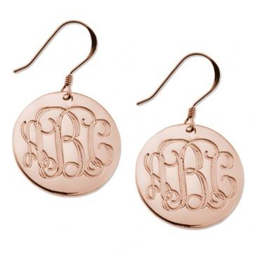 Rose Gold Plated Earrings Engraved Monogram