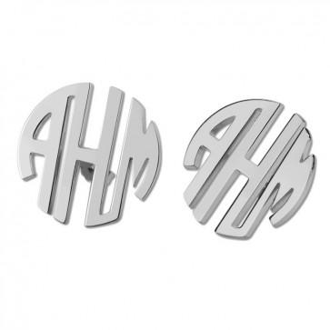 Personalized Sterling Silver Block Monogram Stud Earrings