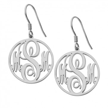 Sterling Silver Customized Circle Initials Monogram Earrings