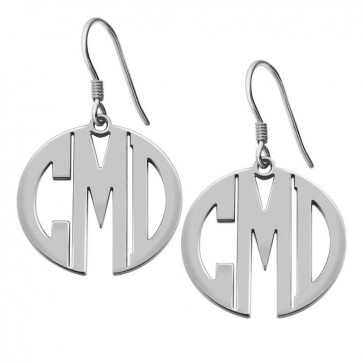 Personalized Sterling Silver Block Monogram Earrings