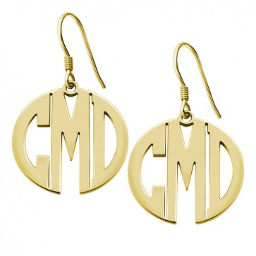 Personalized Gold Plated Block Monogram Earrings