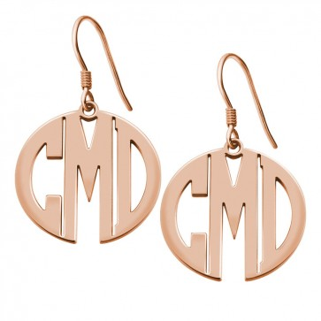 Personalized Rose Gold Plated Block Monogram Earrings