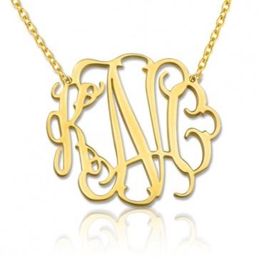 18K Gold Plated Stylish Monogram Necklace