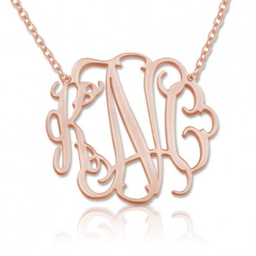 Rose Gold Plated Customized  Initials Monogram Necklace