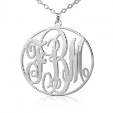 Sterling Silver Personalized Circle Initials Monogram Necklace