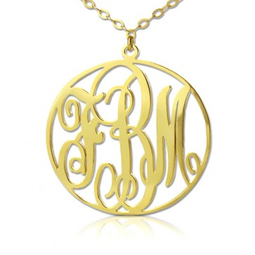 18K Gold Plated Classic Initials Monogram Necklace