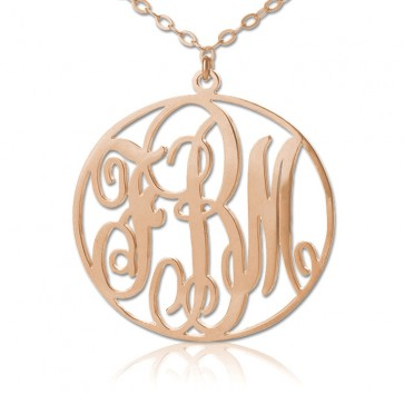 Rose Gold Circle Classic Monogram Necklace