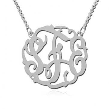 Sterling Silver 3 Initials Monogram Necklace