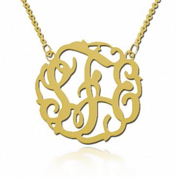 18K Gold Initials Fancy Monogram Necklace