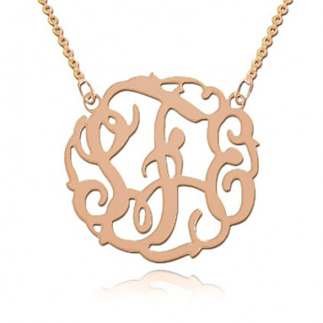 3 Initials Fancy Monogram Necklace In Rose Gold