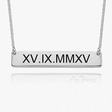 Sterling Silver Engraved Roman Numeral Bar Necklace