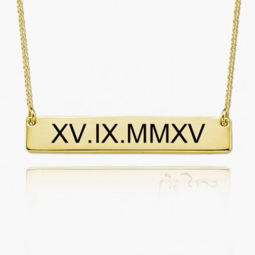 Gold Plated Engraved Roman Numeral Bar Necklace
