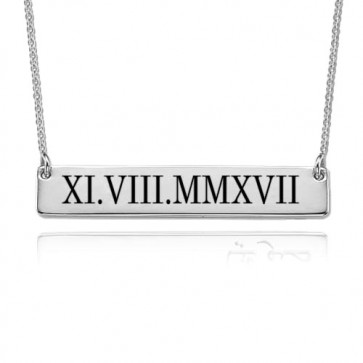 Roman Numeral Date Bar Necklace In Sterling Silver