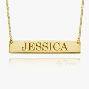 Gold Personalized Engraved Bar Necklace With Name
