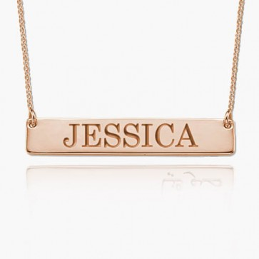 Personalized Bar Necklace With Name in Rose Gold