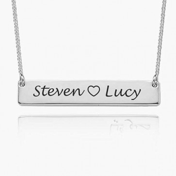 Sterling Silver Engraved Bar Necklace With Two Names