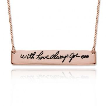 Rose Gold Engraved Handwriting Bar Necklace