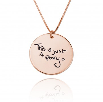 Engraved Circle  Signature Necklace in Rose Gold Plated