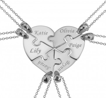 6 Pieces Puzzle Engraved  Necklace  For  a Heart  in Silver