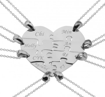 8 Pieces Puzzle Engraved Heart Necklace for Friends and Family in Silver