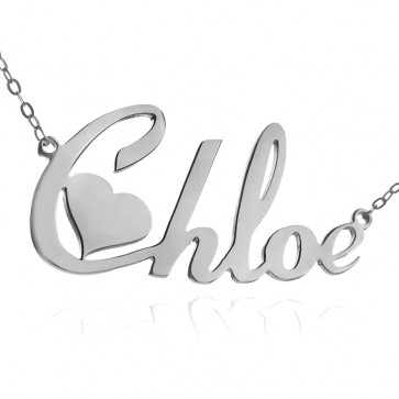 Personalized Heart Nameplate Necklace In Sterling Silver