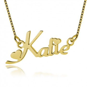 Personalized Heart Name Necklace In 18k Gold