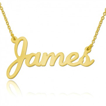 Personalized Stylish Nameplate Necklace In Gold