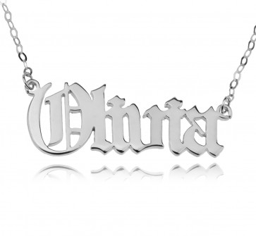Old English Style Name Necklace in Sterling Silver