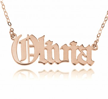 Old English Style Name Necklace in Rose Gold Plated