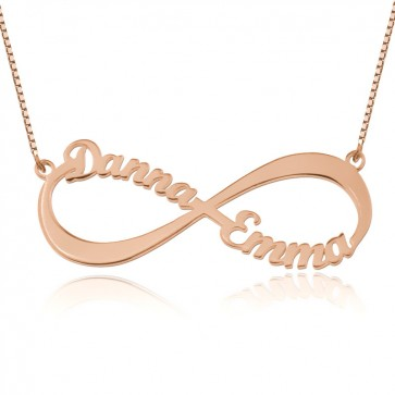 Infinity Two Names Necklace In Rose Gold